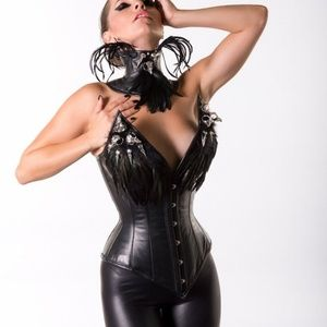 Jane's Corsets Leather Corset with Feather & Skull